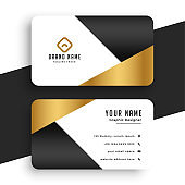 minimal premium golden business card template design