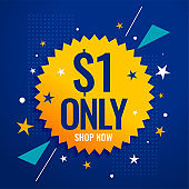 dollar one only sale banner for shopping