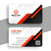 geometric red business card template professional design