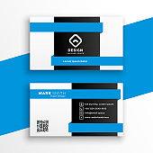 geometric blue business card professional design template