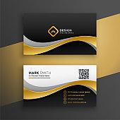 elegant golden wavy premium business card design