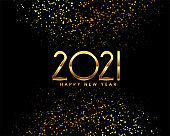 2021 happy new year black and gold greeting card