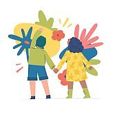 Spring and summer illustration concept with cartoon people characters. Modern background with cute flowers, leaves and abstract shape. Art for banner and t shirt. Vector