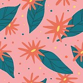 Cute seamless background with flowers and leaf in naive style. Spring and summer abstract wallpaper with geometric shape and leaves. Hand drawn nature backdrop in scandinavian style. Vector
