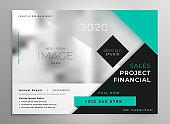 modern turquoise geometric business brochure template design