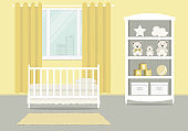 Yellow kid's room for a newborn baby. Bedroom interior for a small child
