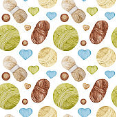 Watercolor Seamless pattern Hobby Knitting. Collection of hand drawn light blue, green, beige, brown colors elements of knitting yearn ball, knitted heart and buttons on white background.