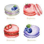 Hand drawn watercolor french macaron cakes set. Pastry dessert Isolated on white background colorful macaroon biscuits, sweet with berries, Strawberry, Blueberry, Raspberry