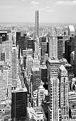 Black and white picture of Manhattan cityscape, New York City, USA.