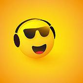 Emoji with Headphones Listening to Music