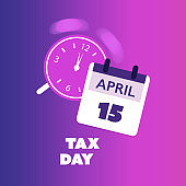 US Tax Day Concept - Calendar Design Template 2020