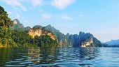 Khao Sok National Park in Southern Thailand, lake forest cliff