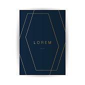 Flyer or Cover Design - Golden Geometric Frame, Lines Pattern