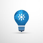 Blue Eco Energy Concept - Sun Inside of a Light Bulb