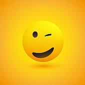 Smiling and Winking Emoji Design