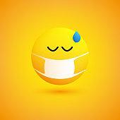 Sad, Concerned Emoticon with Medical Mask