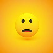 Sad Pensive Face - Emoticon - Vector Design