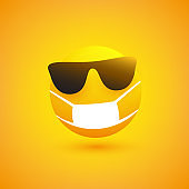 Emoticon with Sunglasses and Medical Mask