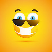Surprised Emoticon with Sunglasses and Medical Mask