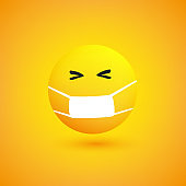 Mischievous Emoji with Medical Mask on Yellow Background