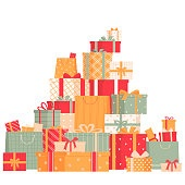 Collection of gift boxes isolated on white background. Big pile of surprises. Mountain of gifts.Vector illustration in cartoon style.