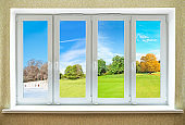 Concept of modern PVC window equally suitable for any of four seasons