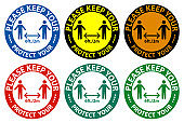 Please keep your distance,Protect your social Distancing Sign Isolate On White Background,Vector Illustration EPS.10