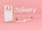 Delivery service online. 3D illustration