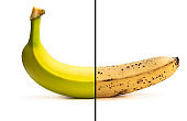 Conceptual image of half ripe banana showing different stages