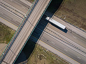 Aerial drone top down video. Highway traffic.