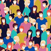 Vector seamless pattern of Coronavirus Pandemia. Novel coronavirus (2019-nCoV), crowd of people wearing white medical face masks. Concept of coronavirus quarantine