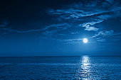 Bright Full Blue Moon Rises Over A Calm Ocean View