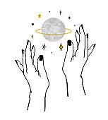 Vector illustration of women's hands holding textured planet and stars. Trendy linear minimal boho tattoo style for logo, emblem, t-shirt fashion print, sticker, skin care, branding