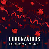 Vector concept illustration of impact of coronavirus on the stock exchange and global economy. Covid-19 virus causes market fall down. Background with candlestick stock charts, arrows and viruses.