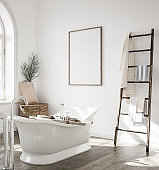 Mock up frame in bathroom interior with ladder