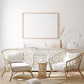 Mockup frame in cozy coastal style home interior