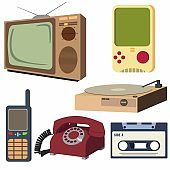Vintage Retro Electronic Set Object (Analog Television, Rotary Dial Telephone, Old Game Console, Compact Cassette Tape, Old Cell Phone, Vintage Record Player) Vector isolated in White Background