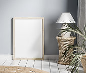Mock up frame with minimal decor close up in home interior background