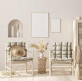 Mock up frame in home interior background, beige room with natural wooden furniture