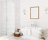 Poster mockup in white cozy bathroom interior background