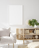 Mock up frame in home interior background, Scandinavian style