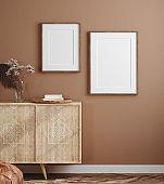 Poster mockup in cozy home interior