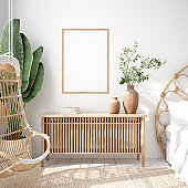 Mockup frame in bedroom interior background, Coastal boho style