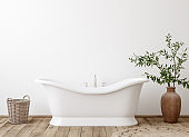 White cozy bathroom interior background, wall mockup