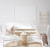 Mock up frame in cozy coastal home interior background