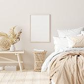 Mock up frame in bedroom interior background, beige room with natural wooden furniture