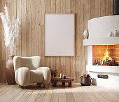 Mockup frame in farmhouse living room interior