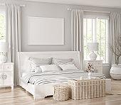 Mockup frame in white cozy bedroom interior background