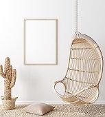 Mock up poster frame in living room interior. Interior Scandinavian style