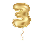 Golden vector realistic balloon. Numeral tree isolated object on a white background. Birthday celebration, anniversary invitation.